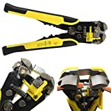#4: EzLife 8-Inch Self-Adjusting Automatic Cable Cutter Crimper, 5 in 1 Multi Tool Wire Stripping Cutting Pliers, 10-24 AWG (0.2~6.0mm²) (Yellow)