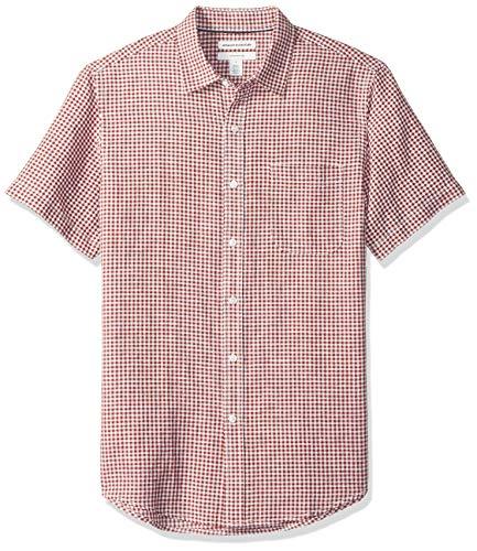 Amazon Essentials Slim-Fit Short-Sleeve Stripe Linen button-down-shirts, Red Gingham, US (EU XL-XXL)