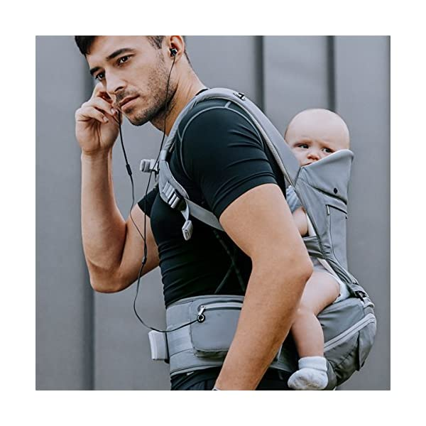 """Bebamour Baby Carrier Hip Seat 6 in 1 Clasical Baby Carrier Backpack 0-36 Months with 3PCS Baby Drool Bibs, Convertible Baby Carrier (Noble Grey) bebear SPORTY CHIC - The baby carrier is used soft classical cotton with polyester touching. The breathable effective is more than 76% which is better than ordinary cotton. Baby will feel best comfort and soft in it. C+M DESIGNED - Ergonomic baby carrier is all parents' pursue. The hip seat is designed according to baby's develoment. Size: L9.8""""*H11.8""""*W7""""(L25*H30*W18CM); Weight is about 1.82 lbs(0.83KG). The upper part can be detached to be a single seat. You can put baby in 3 ways, horizontal, face-forward and face-inward. GOLDEN RATIO - Best comfort for baby who is from 0-36months and whose weight is about 0-33 lbs (0-14.9KG). Baby can be carried in another 3 ways by face-forward, face-inward and backpack position. 7"""