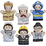 Cuddly Toys Community Helpers Flat Hand Puppets (Set Of 6) - Occupations Include Astronaut, Fireman, Police Officer, Engineer, Chef Also Doctor - Montessori Preschool Toys
