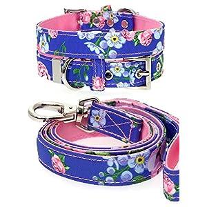 UrbanPup-PinkBlue-Floral-Burst-Fabric-Collar-Lead-Set