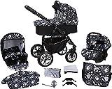 Milk Rock Baby Macano S Kinderwagen mit 3 Gestellfarben (Autositz, Regenschutz, Moskitonetz, Schwenkräder) MO67 Black / Schwarz & Totenkopf