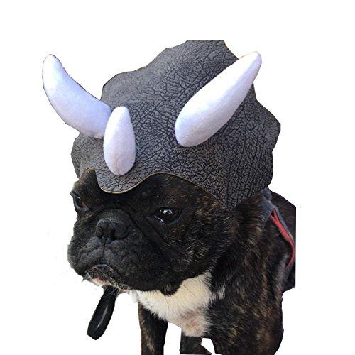 Bello Luna Triceratops Headpiece mit Gummiband für Bulldog und Mehr Haustiere