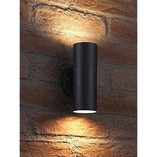 Auraglow Schwarz Rostfreier Stahl Zweiweg Wandleuchte - 2 x LED Glühbirne (Warmweiß) 7W Inbegriffen