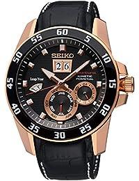 37ed4dbf08d1b Seiko Reloj Analógico para Hombre de Kinetico con Correa en Cuero SNP056P1