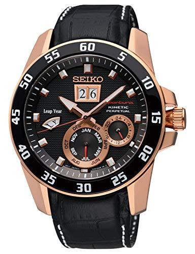 Seiko Herren Analog Kinetik Uhr mit Leder Armband SNP056P1