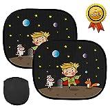 Kungber Parasole per Auto per Bambini con Motivo Cartoni Animati, Protezione dai Raggi UV e dalla Luce Solare, 44 x 36 cm (2 Pezzi) (black2)