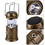 Solar Rechargeable Collapsible LED Camping Lantern Flashlight with COMPASS, Portable Water Resistant Outdoor Survival Lamp for Hiking Fishing Emergency Charging for Android Cellphone-Cloudmall