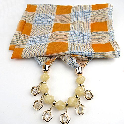 New Product Bohemian Geometric Beads Crystal Necklaces Printing Flowers Pattern Wrap Chiffon Statement Scarf Necklace For Women
