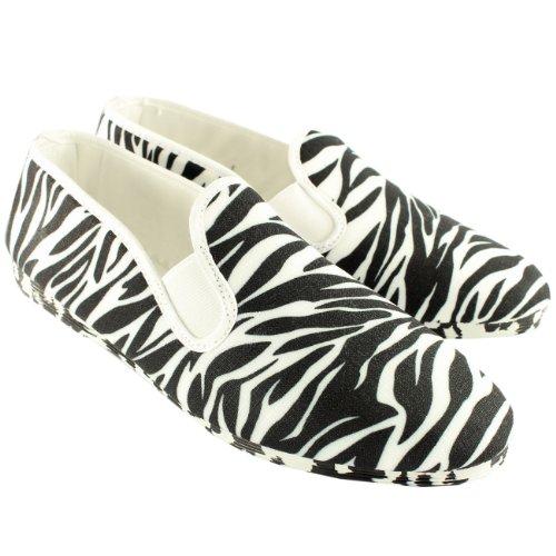 Mujer Kung-Fu Flossy Mungia Resbalón En Zebra Print Alpargata Zapatos - Blanco - 41
