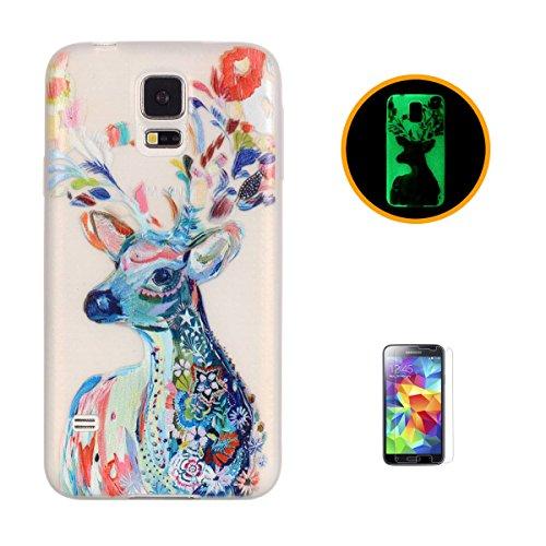 CaseHome for Case for Samsung Galaxy S5 Hülle Silikone Elegante Muster Transparente Stoßstange TPU Gummi Leuchten In Der Nacht-Aquarell Hirsch