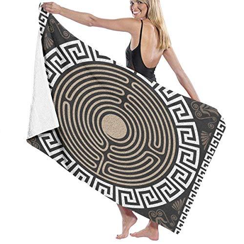 Zhengzho Grecian Retro Swirls Adult Mikrofaser Strandtuch Übergröße 80X130 cm Schnelltrocknend Saugfähig Mehrzweckverwendung Pareo für Frauen Männer - Grecian Spas