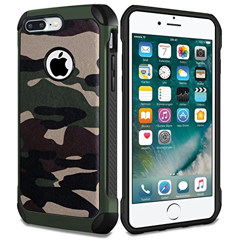 iPhone 8 Plus Fall, Defender stoßfest Drop Proof Armor Hybrid Rugged Camouflage Case für Apple iPhone 8 Plus - Camo Grün Camouflage Fall