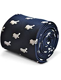 Frederick Thomas Navy Blue Mens Tie with Hippo pattern