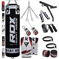 RDX Boxsack Set Gefüllt Kickboxen MMA Muay Thai Boxen mit wandhalterung Stahlkette Training Handschuhe Kampfsport Schwer Punchingsack gewicht 4FT 5FT Punching Bag