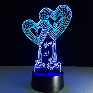 ATD® Double Heart Balloon I LOVE YOU 3D Optical Illusion Touch Botton 7 Color Changing LED Night Light Desk Lamp,Romantic Gift for Lover,Wife,Boyfriend or Girlfriend