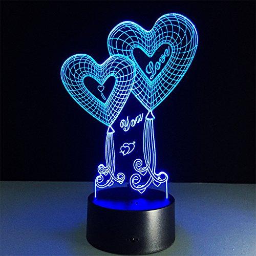 ATD Doble globo Corazón TE AMO ilusión óptica 3D botón táctil 7 que cambia de color LED luz de la noche lámpara de escritorio, regalo romántico para el amante, esposa, novio o novia