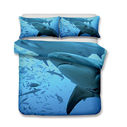 CHAOSE Großer weißer Hai 3D, Karikatur-Haifisch Bettwäsche Set,Superweiche Polyester-Baumwolle,2-teilig (1 Bettbezug + 1 Kissenbezüge) (Beute, Single Size(135x200cm+1/75x50cm Einzelbett))