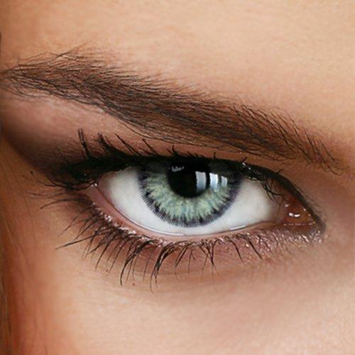 Farbige Jahres-Kontaktlinsen Marble Gray-Green - MIT und OHNE Stärke in GRAU-GRÜN - von LUXDELUX® - mit Stärke (-1.00 DPT in Minus)