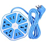 Classico Extension 4 USB Ports 1.3 M Cable Adapter Multi Switched Socket Hexagon Charging Station EU Plug 4 Sockets + 4 USB Ports Multi Plug For PC Laptop Micro USB Splitter 8 Ports (Random Color)