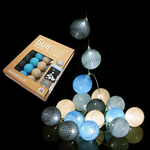 Guirlande lumineuse boules coton LED USB - Chargeur double USB 2A inclus - 3 intensités - Nouveau modèle Avatar