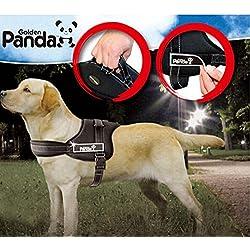 Edealing Seguridad Ajustable grande perro de mascota pecho del arnés chaleco Panda suave acolchado