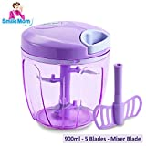 #8: Smile Mom Vegetable Chopper, Cutter, Blender, Mixer – Manual Food Processor – Best Kitchen Tool for Onion, Tomato, Ginger, Garlic, Salad, Eggs, Fruits and More (900 ML)