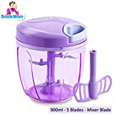 Smile Mom Vegetable Chopper, Cutter, Blender, Mixer – Manual Food Processor – Best Kitchen Tool For Onion, Tomato, Ginger, Garlic, Salad, Eggs, Fruits And More (900 ML)