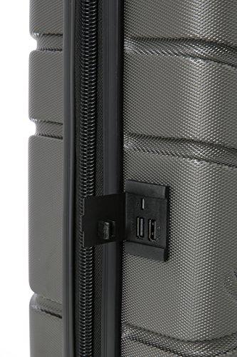 Aerolite SMART Koffer mit USB Port zum Laden, ABS Hartschale 4 Rollen Bordgepäck Handgepäck Trolley Koffer Gepäck , Genehmigt für Lufthansa, Easyjet, Ryanair und Viele Andere (Kohlegrau) - 4