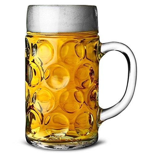 Liter 1 Bierkrug (Deutscher Glasbierkrug, 1Liter (2 Pint), klassischer Bierkrug, Maßkrug)