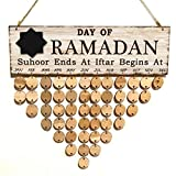 BESTOYARD Holzkalender Day of Ramadan Countdown Kalender Immerwährender Vintage DIY Kalender Wand Deko Geschenk 102 Stück