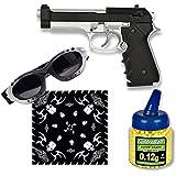 Pack Pistola airsoft HFC pesada mixta. Calibre 6mm. Potencia 0,5 Julios + Gafas antivaho + Biberon 1000 bolas