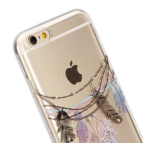 iPhone 7 Hülle,iPhone 7 Silikon Hülle Tasche Handyhülle,SainCat Flamingos Muster Ultra dünne Silikon Hülle Schutzhülle Durchsichtig Hadytasche Stoßfeste TPU Gel Case Bumper Weiche Crystal Kirstall Sil Diamant-Tribal Feder Campanula
