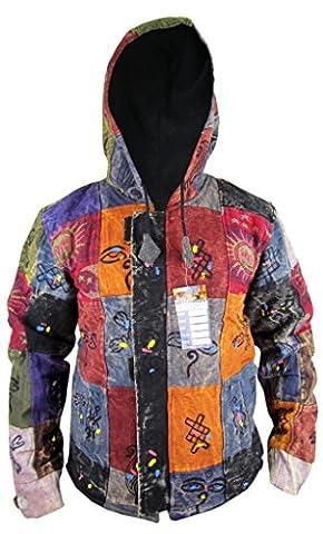 Little Kathmandu Men's Sunmoon Printed Fleece Lined Warm Cotton Funky Jackets Stonewashed X-Large