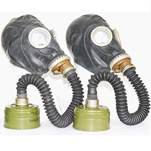 OldShop Set of 2 WW2 Gas Masks GP-5 with filters & hoses black Soviet Russian NEW Vintage funy gift original (Black Hose Russian)