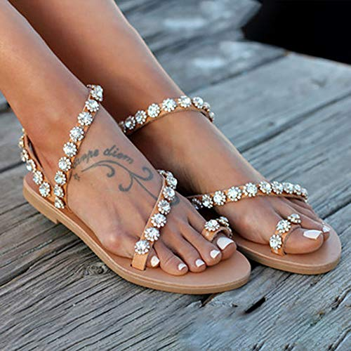 LYYJF Frauen Perlen Flache Sandalen Pearl Beach Party Zehenring Casual Böhmen Sommer Sandalen Hochzeit Perle Schuhe Flip Flops Damen Casual Sandal,Brown,38