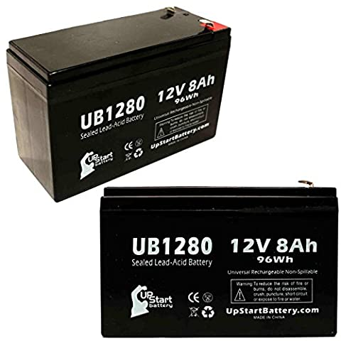 2x Pack - Replacement APC RBC12 Battery - Replacement UB1280 Universal Sealed Lead Acid Battery (12V, 8Ah, 8000mAh, F1 Terminal, AGM, SLA) - Includes 4 F1 to F2 Terminal Adapters