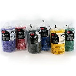 3M Vetrap Bandages. Pack x 6. One each Black, Blue, Green, Purple, Blue, Yellow 10