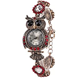 Fashion Owl Color Diamond Bracelet Alloy Strap Quartz Women Wrist Watch,Red