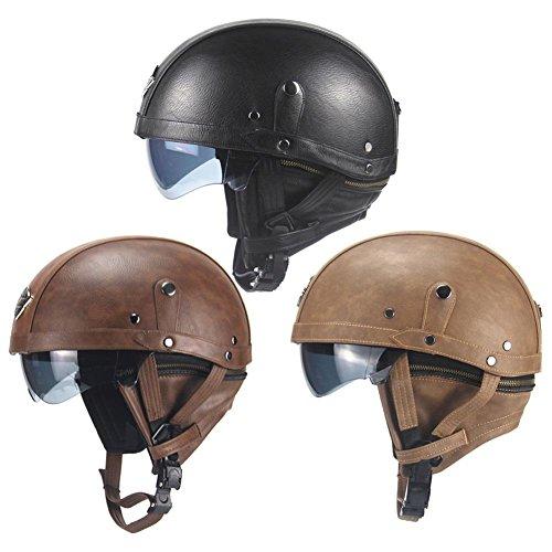 Sue-Supply Oldtimer Motorradhelm Retro Oldtimer Helm mit Leder bezogen Größe 56-61cm (dunkelbraun)