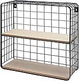 Spetebo Gitter Wandregal mit 2 Holzablagen 40x40x15 cm - Modernes Küchenregal oder Badregal aus Metall und Holz