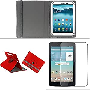 Gadget Decor (TM) PU LEATHER Rotating 360° Flip Case Cover With Stand For Zebronics Zebpad 7t500 3G Tablet - Red + Free Tempered Glass Toughened Glass Screen Protector