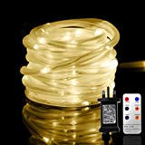Led Rope Lights, 10M Tube Lights with 8 Modes, Waterproof Strip Lights with 136 LEDs, String Lights Mains Powered for Christmas Decorations, Tree Wedding Party Path Garden Patio Outdoor (Warm White)