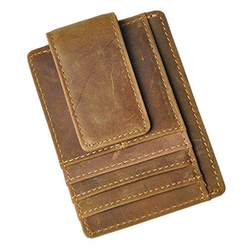 Le'aokuu Leder Geldslammer Geldbeutel Geldbörse Ausweisetui Kreditkartenetui Brieftasche Portemonnaie Kartenhüllen Geld Clip Halter Klip Magnet (W1015 licht - Geld Holder Card Magnet Clip