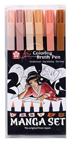Sakura Koi Coloring Brush Pens MANGA-SET, 6 Pinselstifte Hauttöne -