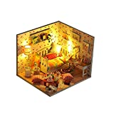 Aolvo DIY Puppenhaus-Set aus Holz, Miniatur-Modell mit LED-Schlafzimmer Möbel-Spielzeug zum Basteln für Kinder (mit Sternen), Valentinstag, für Mädchen herbst