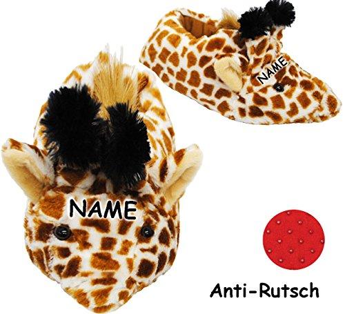 Unbekannt Plüschhausschuhe -  Giraffe  - Hausschuhe / Pantoffel - incl. Name - Größe Gr. 29 - 30 - 31 - 32 - 33 - 34 - 35 __ schön warm __ Plüschhausschuh / Tier - Ti..