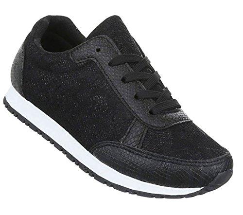 Schuhcity24 Unisex Sneaker Low   Damen Herren Sneakers   Laufschuhe Schnürer   Bequeme Freizeit Schuhe   Sportschuhe Leder-Optik   Stretch Riemen Schwarz 37