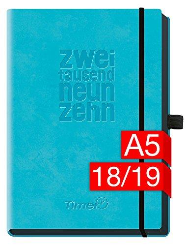 Chäff-Timer Deluxe A5 Kalender 2018/2019 18 Monate [Blau] Juli 2018-Dezember 2019 - Gummiband, Einstecktasche, Stifthalter - Terminkalender mit Wochenplaner - Organizer - Wochenkalender