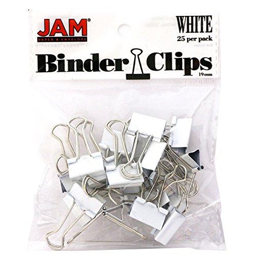 JAM PAPER Bunte Büroklammern - Klein - 19,05 mm - Weiße Binder Clips - 25/Packung